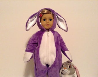 "Bunny costume for 18"" doll in lavender"
