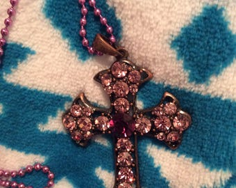 Crystal cross necklace large mauve lavender purple rhinestone vintage changeable chain