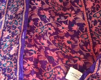 Silk scarf long from India vtg 70s no flaws floral purple