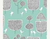 40% OFF SALE - ORGANIC Tokyo Trees Turquoise 131803 - Yoyogi Park - Cloud9 Fabrics - By the Yard