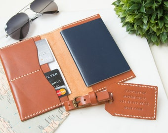 Leather Passport Cover Personalized Leather Passport Holder Custom Monogram Leather Luggage Tag, Travel Wallet, Passport Case Wallet