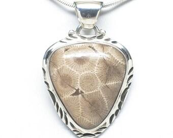Sterling Silver Petoskey Stone Pendant