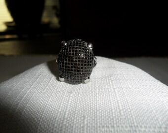 Vintage Black Spinel Sterling Silver Ring Size 6