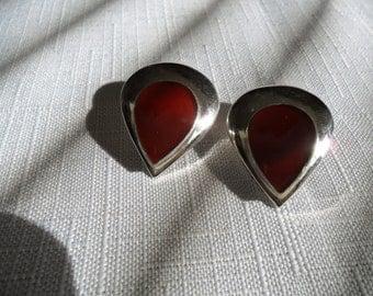 Vintage Sterling Silver Carnelian Clip On Earrings