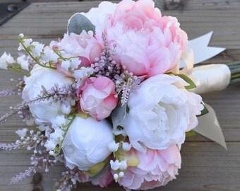 Blush Peony Bridesmaid Bouquet, Wedding Bouquet, Wedding Flowers, Peony bouquet, Silk Flower Bouquet, Destination Wedding - EADEN GARDEN.