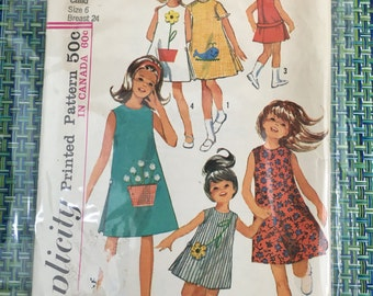 1965 Simplicity Sewing Pattern 5990 Girls A Line Shift Jumper with Transfers Size 6 cut- Girls Pattern, Pattern,girls jumper dress, shift