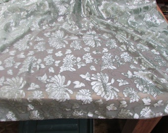 "Vintage Solid Sage Green Chiffon Cut Velvet Sheer Fabric 45"" w PRICE PER YARD- green chiffon fabric, solid green fabric, formal sheer fabric"