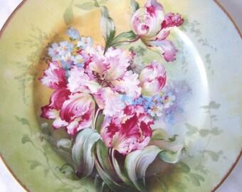 CHARLES AHRENFELDT LIMOGES Antique Cabinet Plate Pink Tulips Floral 1800s