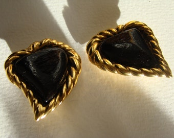 YSL Yves Saint Laurent Rive Gauche Left Bank Black Heart Earrings