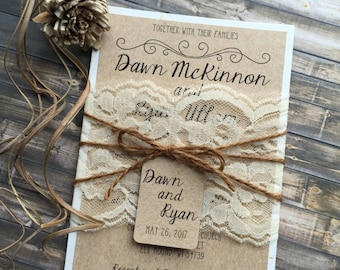 Rustic Wedding Invitation, Vintage Wedding Invitation, Elegant Wedding Invitations, Lace Wedding Invitations, Barn Wedding Invitations