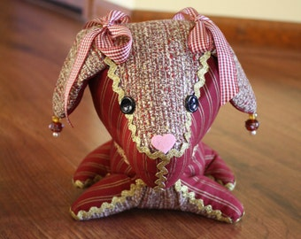 Decorative Stuffed Dog in Tweed and Burgundy Fabric with Gold Trims