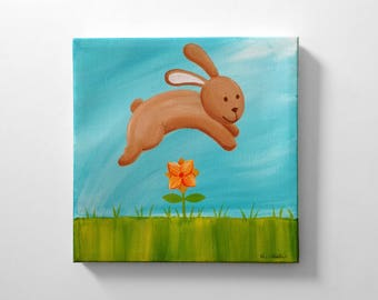 Cute Bunny Rabbit Original Canvas Painting - Nursery Art