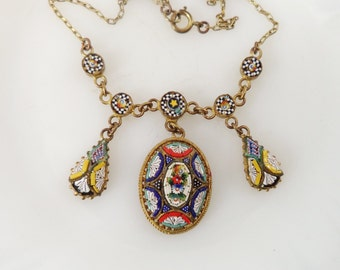 Art Deco Italian Micro Mosaic Festoon Necklace