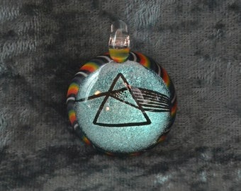 Art of a light prism similar to Pink Floyd Dark Side Of The Moon art Dichroic Image Pendant Or send message to special order pipe