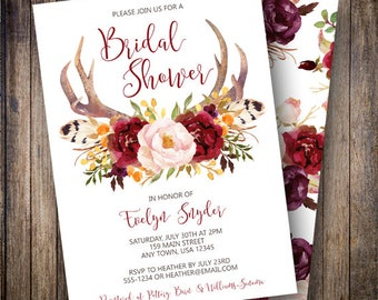 Rustic Bridal Shower Invite, Floral Antlers Bridal Shower, Boho Bridal Shower, Watercolor Rose, Fall Bridal Shower, Wine, Pink, Gold