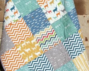 Colorful Deer Quilt, Boy or Girl, Gender Neutral Blanket, Baby Toddler Crib Bedding, Nursery Cot Blue Green  Orange, Birch Organic Fabrics,