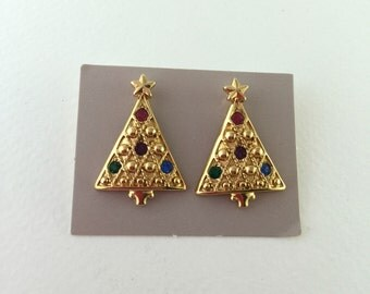 Christmas Tree Earrings, Colored, Rhinestone, Holiday, Gold tone, Vintage Avon Jewelry, CIJ