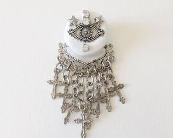 all seeing eye mystical brooch pin , handmade, anniemjewelry