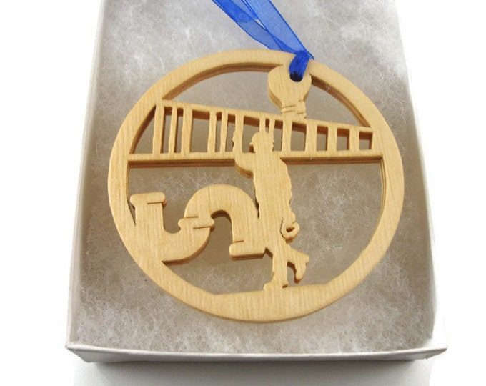 Plumber Christmas Ornament Handmade From Birch Wood By KevsKrafts, Construction Worker NB-003-6
