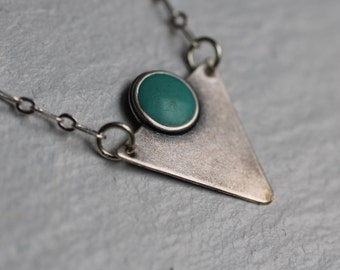 Art Deco Triangle Necklace ... Vintage Silver Turquoise Pendant