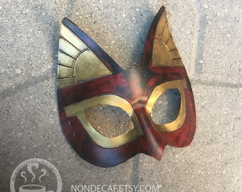 Rust Red Bastet Egyptian Cat leather costume mask Halloween Accessory