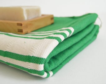 SALE 50 OFF/ BathStyle / No5 Green / Turkish Beach Bath Towel Peshtemal / Wedding Gift, Spa, Swim, Pool Towels and Pareo