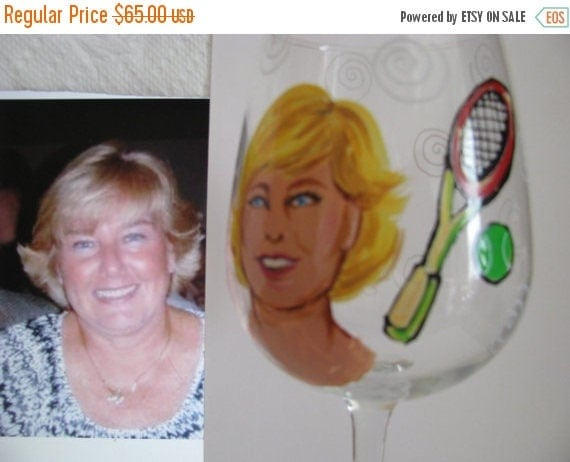 ON SALE Hand Painted CUSTOM Features Glass  Caricature Cartoon Portrait  Personalized  Caricature