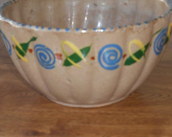 "Vintage Mexican Pottery 8"" Bowl, 1940s Tourist Ware,  Unique Design, Stamped Mexico, Light Terra Cotta Clay, Southwest Decor"