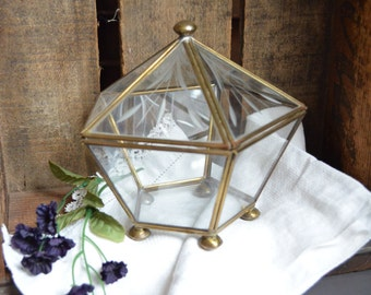 Vintage Brass and Glass Shadow Box Vintage Hinged Lid Display Ball Feet 5 Sided Vintage Glass and Brass Vintage Box Vintage Display Etched