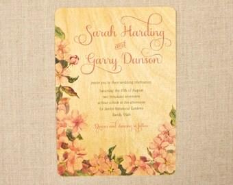 Real Wood Wedding Invitations - Blossom Love
