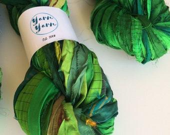 Silk sari ribbon, enchanted green, premium quality, jewelry making ribbon, knitting ribbon, ethical yarn, recycled yarn. 200g