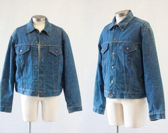 BIG BLUE Vintage 1970's LEVI's Original Denim Jacket with Blanket Lining | Indigo Dyed | Large