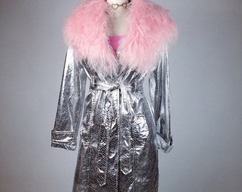 Silver Reptile Print Pastel Pink Mongolia Fur Collar Trim Trench Coat // S