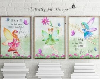 Fairy print   children's prints   set of 3 prints    Fairies   Kids wall art