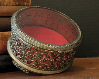 Vintage / Antique Filigree Trinket / Jewelry Box / Gold Tone Metal Red Velvet / Beveled Glass Lid / French Style Decor