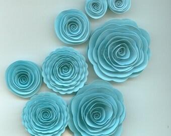 Baby Boy Blue Handmade Spiral Paper Flowers