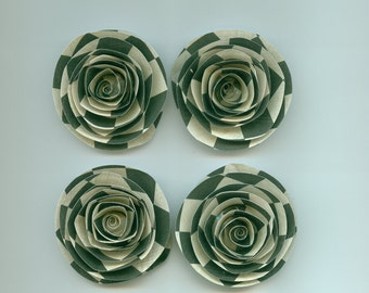 Checkered Black and Off White Handmade Spiral Paper Flowers