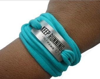 Running Bracelet, Sweat away Bracelet, sport bracelet - keep running - Hebrews 12:1
