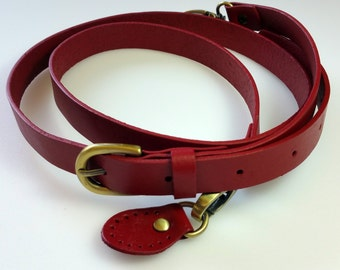 Leather Bag Strap with Sew On Tabs - Red (Brass Fittings) 19mm/0.75""