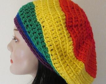 Rainbow Slouchy Beanie Gay Pride Slouchy Beanie French Beret Rainbow Tam Boho Slouchy Hat