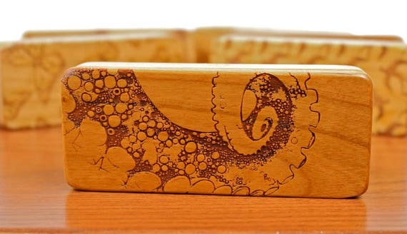 "Storage Box Octopus Pattern, 5""x2""x1"", Pattern ST9, Solid Cherry, Rare Earth Magnets, cigarette storage box, Paul Szewc, Masterpiece Laser"