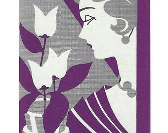 WOMAN in PURPLE (1) Vintage Single Swap Playing Cards Paper Ephemera Scrapbook