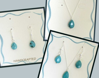 Turquoise Earrings, Necklace, or Set in Sterling Silver, Turquoise Jewelry, Layering, Genuine Turquoise, December Birthstone Gift Set