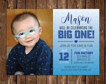 Ombre Blue First Birthday Invitation, Boys first birthday invite, photo invitation, the big one invite, printable 1st birthday invite