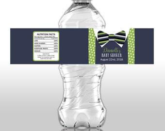 Bow tie water labels, Baby Shower water bottle labels, suspenders labels, drink labels, weatherproof labels, bow tie decor, favors