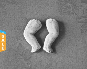 """Closeout - Vintage German 2"""" Pipe Clay Baby Doll Legs for Altered Art Doll Making"""
