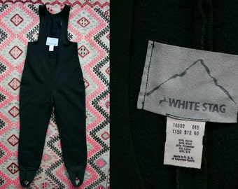 Vintage 1970's White Stag Wool and Nylon Black Snow Suit Made in the USA Women's Size 8 10 12 Winter Apparel Retro/Hip/Snow Bunny