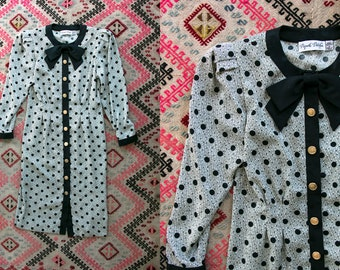 Vintage 1980's Black and White Polka Dot Button Up Dress with Black Bow Tie and Shoulder Pads Women's Size 4 Retro/High Fashion/Hipster