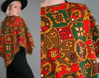 Vintage 60's Psychedelic Harvest Cotton Poncho Women's One Size Retro/Hip/Boho
