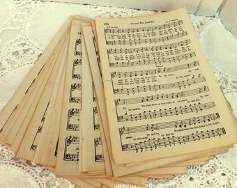 Vintage Hymn Pages 50 pieces, Paper Ephemera, Old Music Pages, Christian Hymn Book Songs, Art Journaling Craft Supply, Aged Paper, Recycle